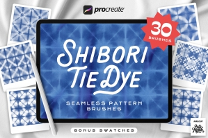 Procreate Shibori Tie Dye Seamless Pattern Brushes
