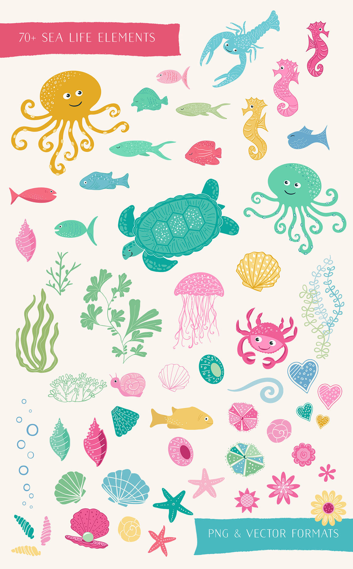 Sea Life Fun Elements and Patterns