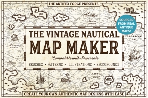 The Vintage Nautical Map Maker - Procreate