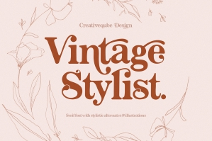 Vintage Stylist Font + Floral Illustrations
