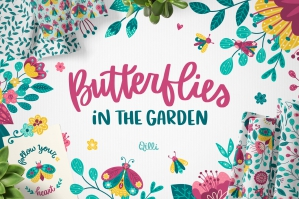 Butterfly in the Garden Clipart Set