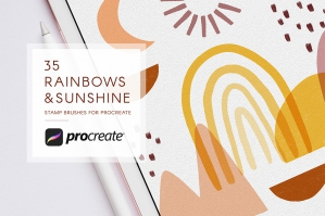 Abstract Rainbows & Sunshine Procreate Stamps Brush Set