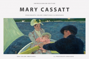 Mary Cassatt's Art Procreate Brushes & Color Swatches