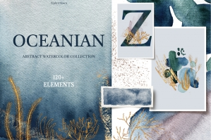 Oceanian - Abstract Watercolor Set