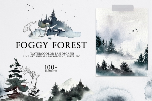 Foggy Forest Watercolor Clipart