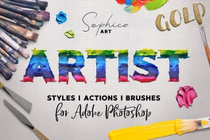 Artist Styles, Actions + Brushes Pack for Photoshop