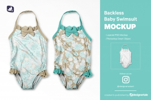 Backless Baby Swimsuit Mockup