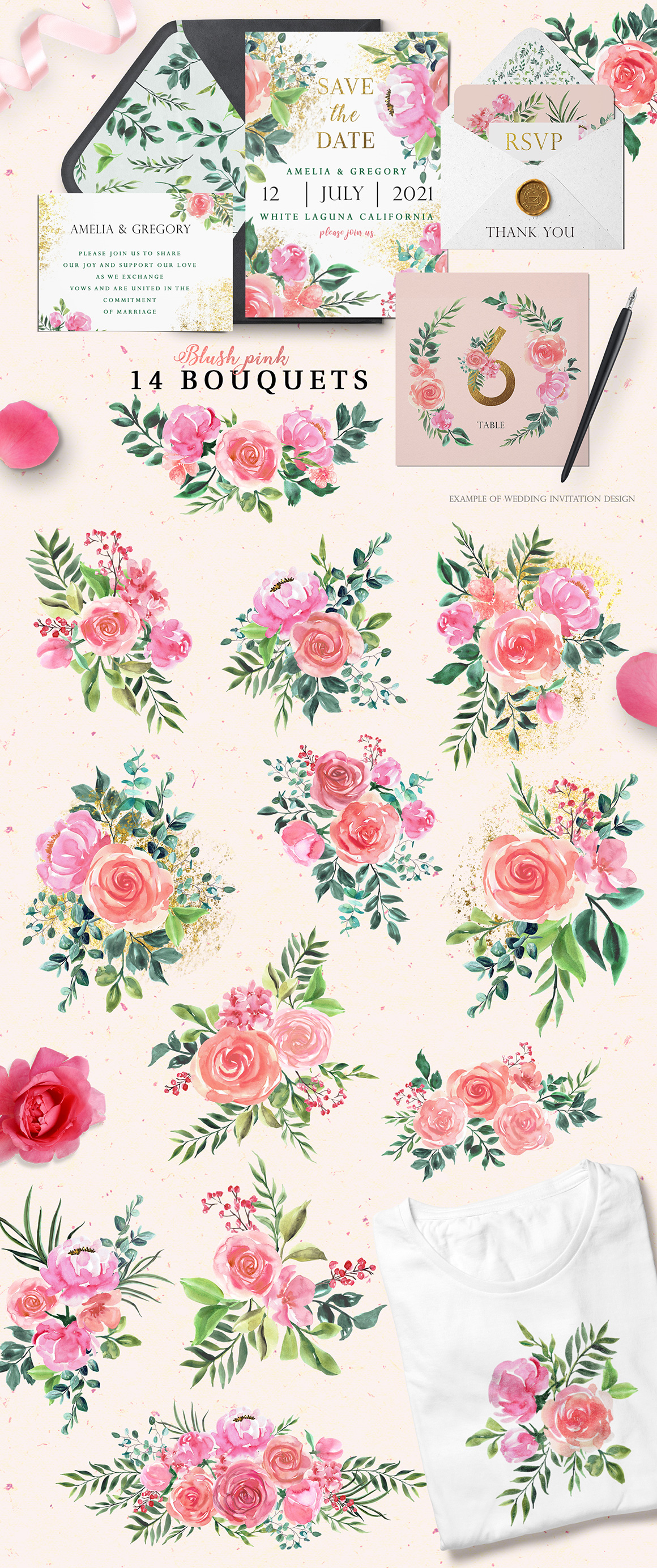Blush Pink Floral Watercolor Collection