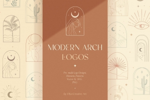 Bohemian Modern Arch Logo Designs, Elements