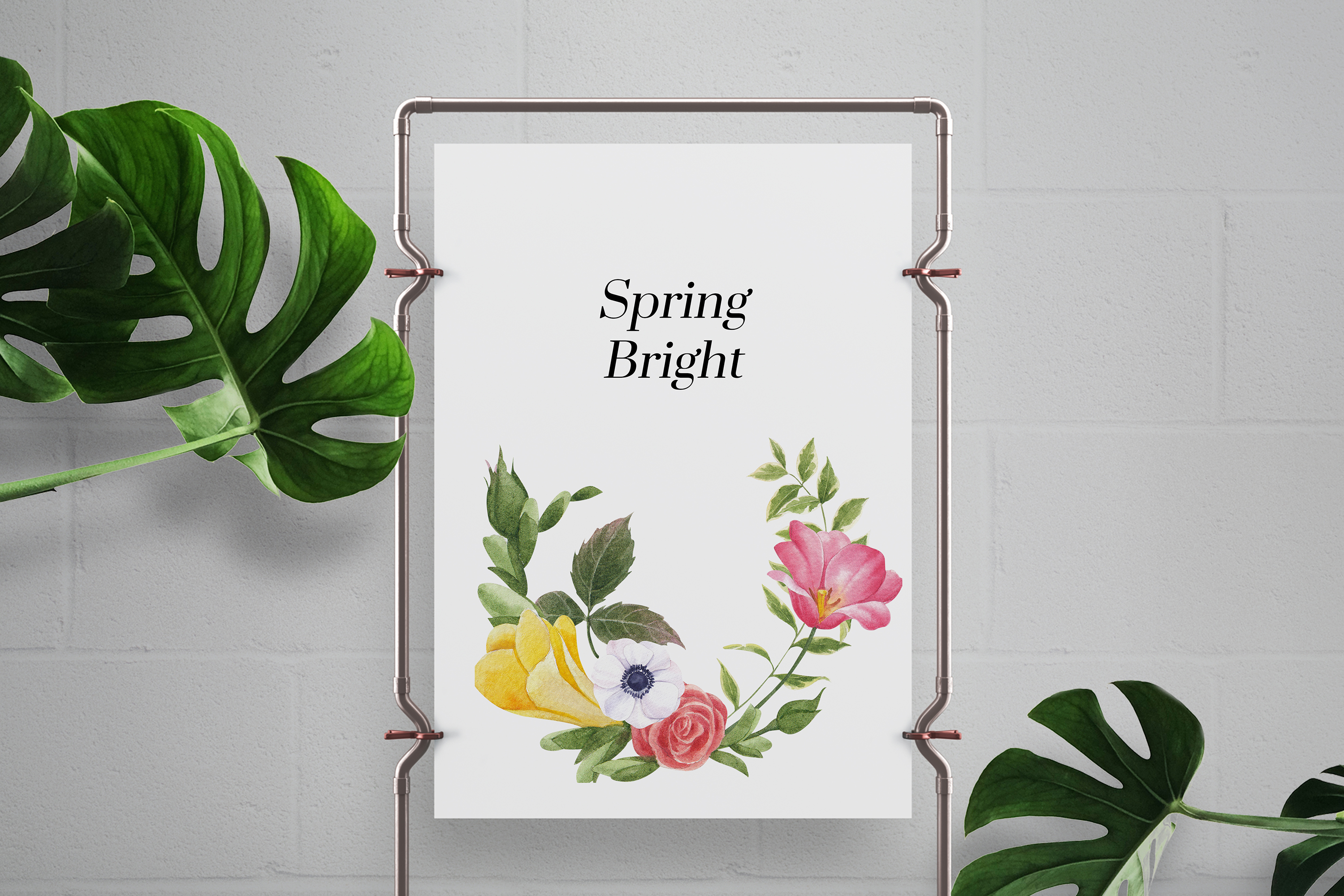 Brightly Coloured Spring Flower Watercolor