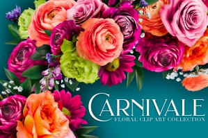 Carnivale Floral Clip Art Graphics Collection