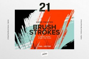21 Hand Painted Brush Strokes