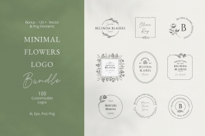 Minimal Flowers Logo Bundle