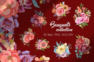 Flower Bouquets - Watercolor Collection