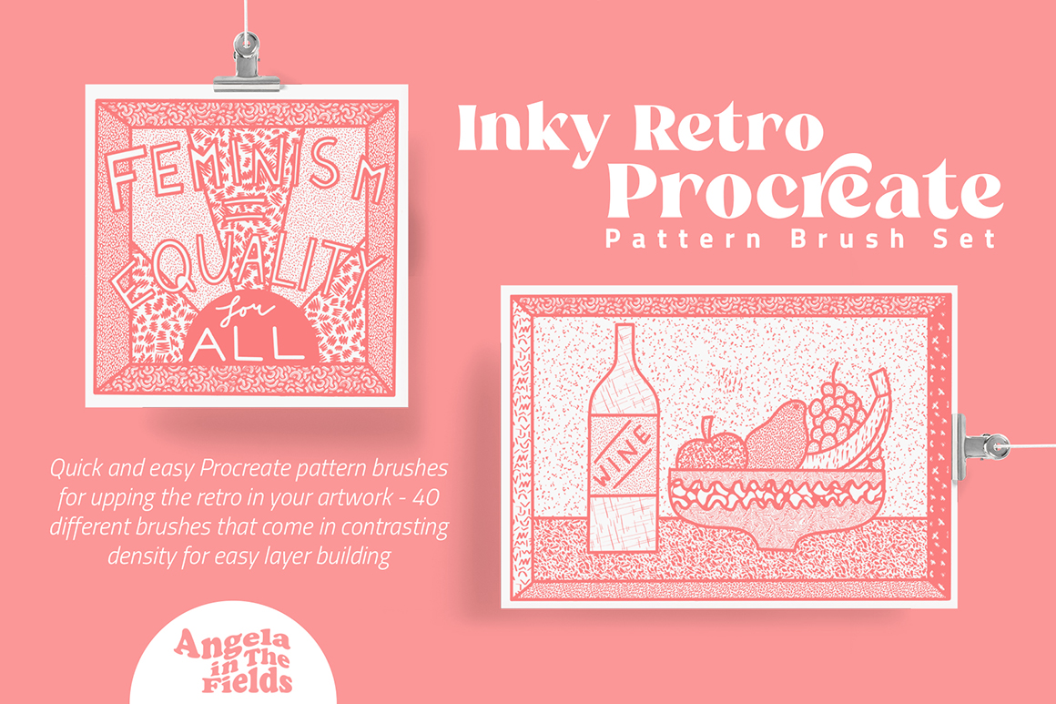Inky Retro Procreate Pattern Brush Set