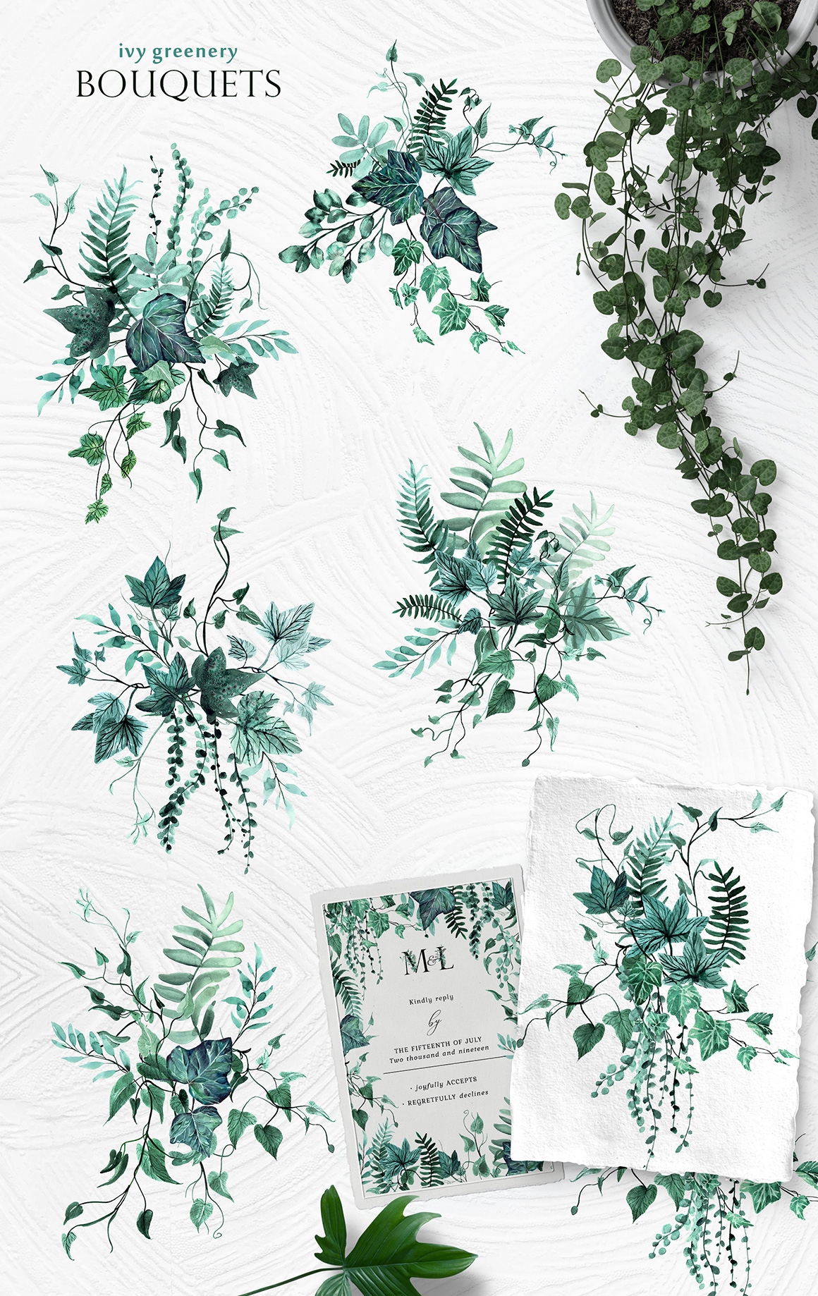 Ivy Greenery Watercolor Collection