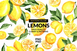 Lemon Watercolor Clipart & Patterns