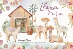 Llama Farm Watercolor Clipart