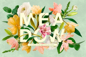 Spring Meadow Clip Art Graphics Collection