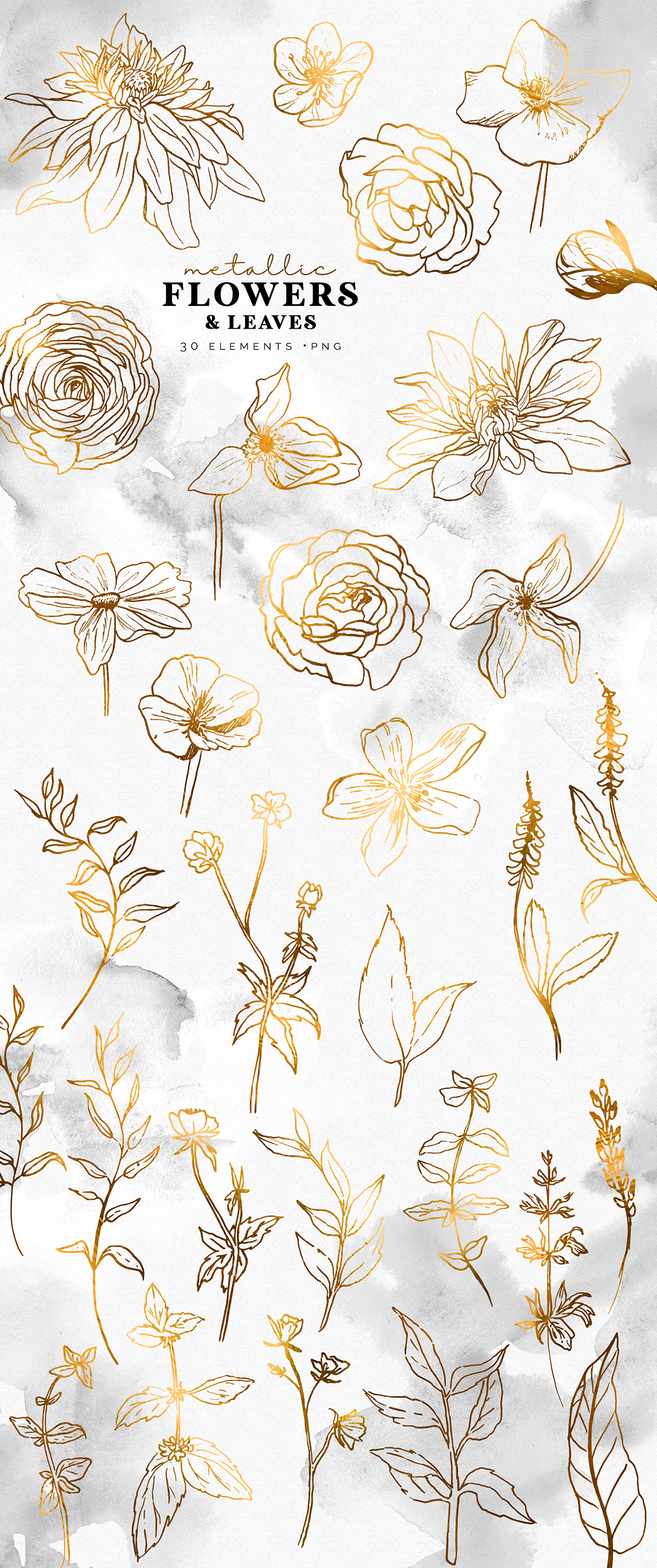 Metallic Flowers Lineart Collection