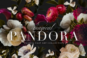 Pandora Moody Floral Clip Art Graphics Collection