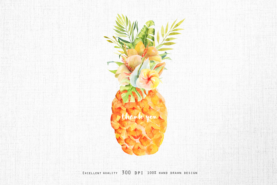 Pineapples Watercolor Collection