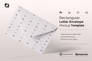 Rectangular Letter Envelope Mockup