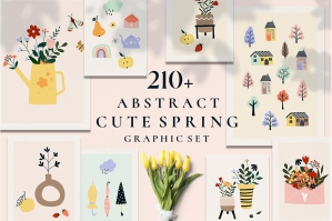 Spring Season Abstract Graphic Set