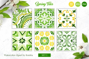 Spring Tiles Green Watercolor - Set 1
