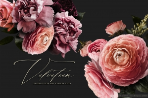 Velveteen Moody Floral Clip Art Graphics Collection