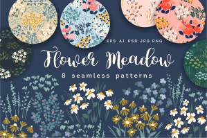 Flower Meadow - 8 Seamless Patterns