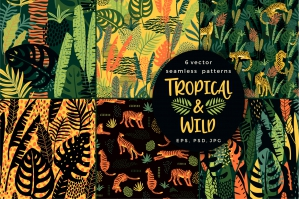 Tropical & Wild - 6 Seamless Patterns