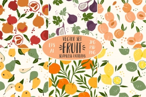 Fruit - 6 Seamless Patterns
