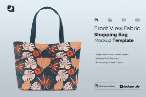 Front View Fabric Shopping Bag Mockup