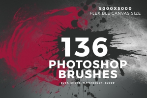 136 Photoshop Brushes - Dust, Smoke, Watercolor, Blood