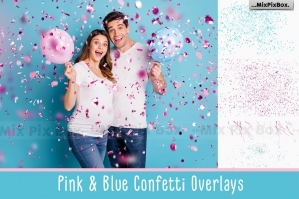 Pink and Blue Confetti Overlays