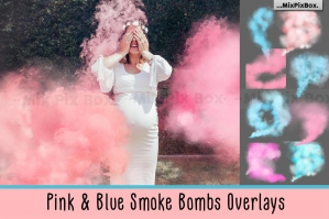 Pink and Blue Smoke Bombs Overlays