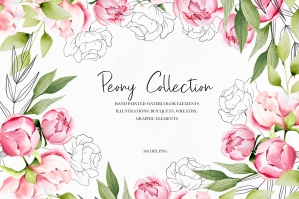 Delicate Peony Watercolor Collection