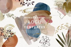 Watercolor Abstract Backgrounds & Trendy Logo Templates - Shapes & Flowers