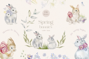 Watercolor Spring Bunnies - Easter Floral Collection