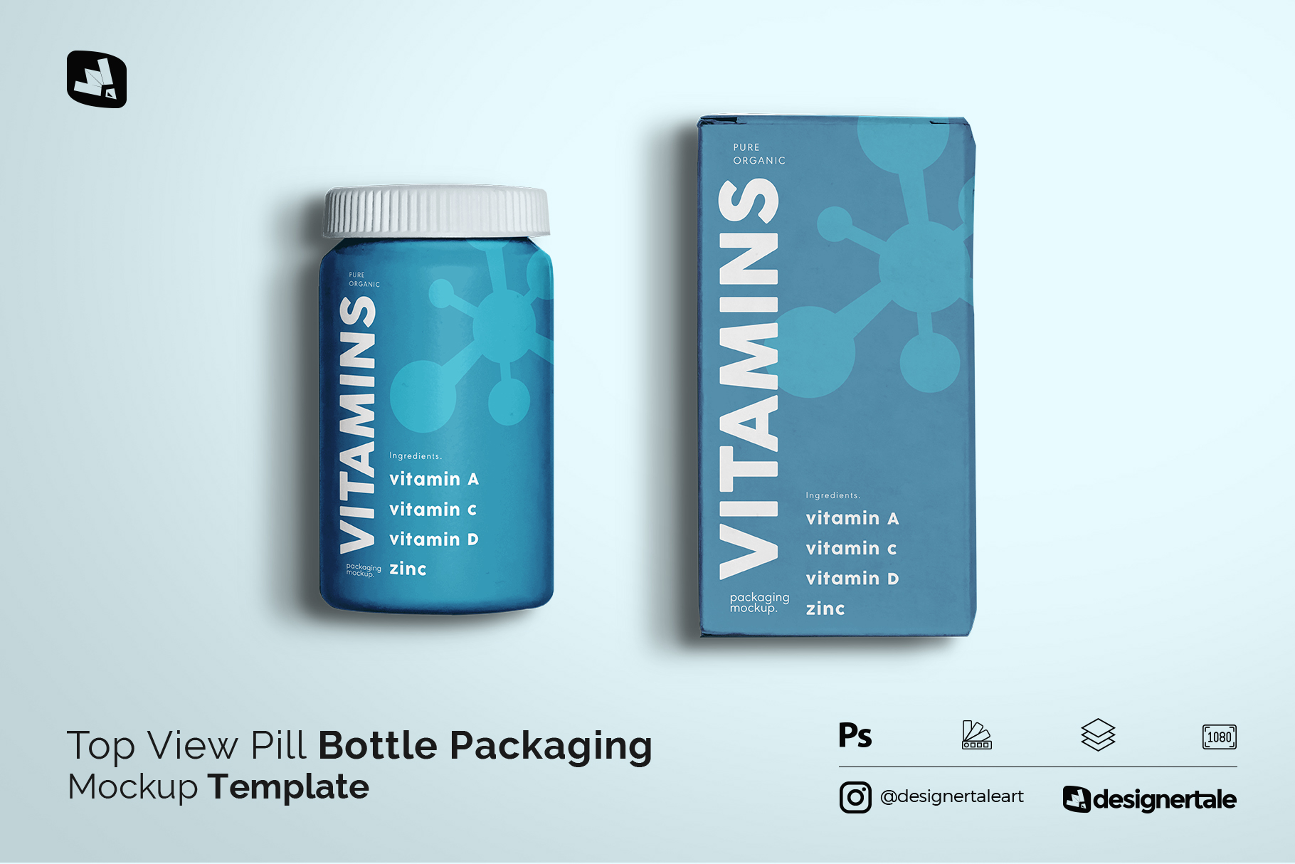 Top View Pill Bottle Packaging Mockup