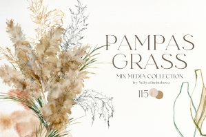 Pampas Grass Watercolor and Abstract Boho Collection