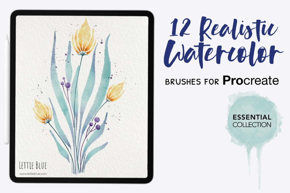 12 Realistic Watercolor Brushes for Procreate