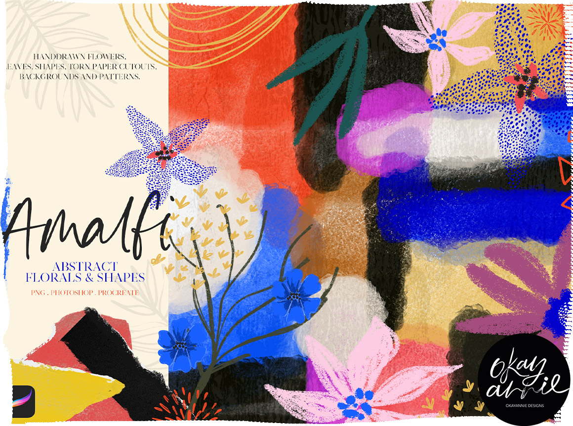 Amalfi: Abstract Floral & Shapes + Procreate