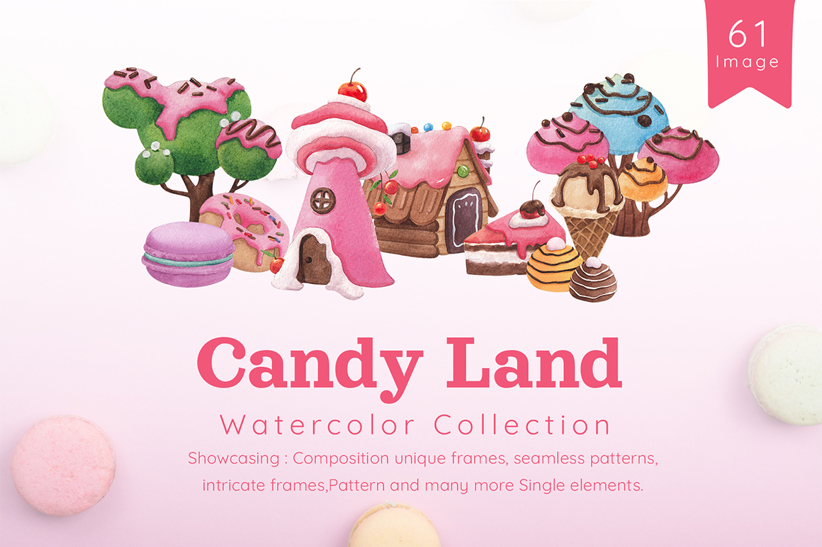 Sweet Candy Land Cartoon Watercolor Collection