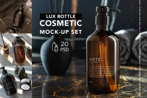 Cosmetic Dark Bottles Mock-Up Set