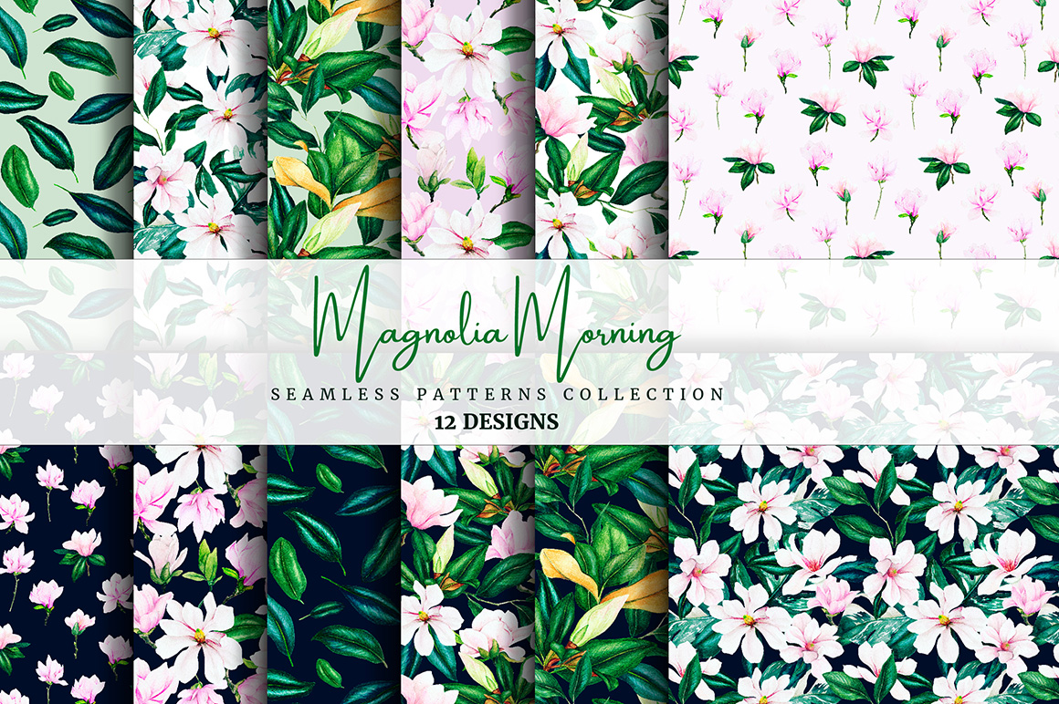 Magnolia Flowers - Watercolor Seamless Patterns