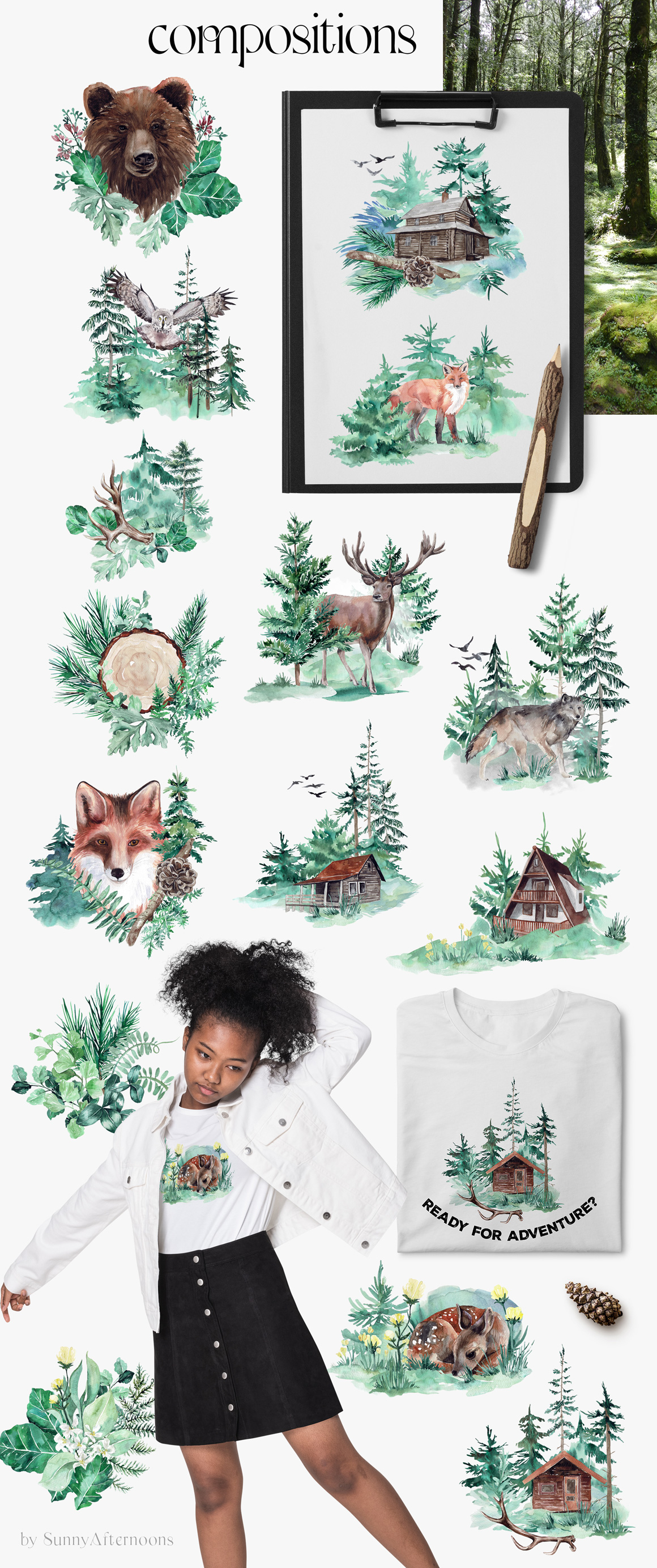 Misty Woodland - Forest Watercolor Animals