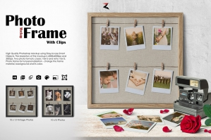 Photo Frame with Clips Mockup 6K