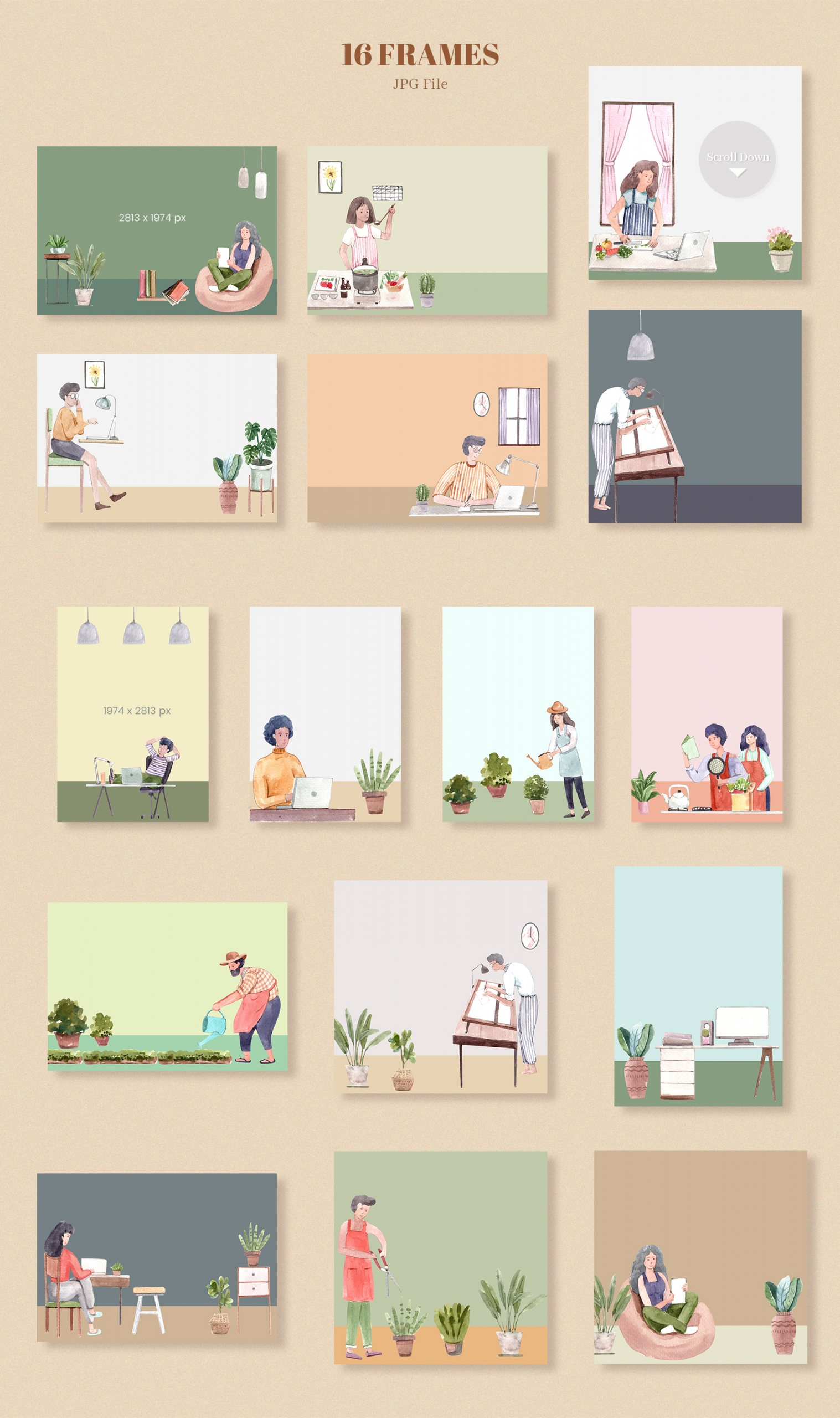 Work from Home - People Watercolor Illustration